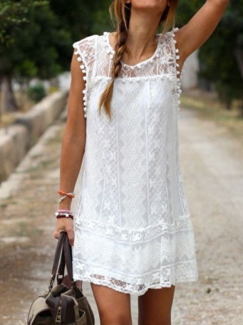 White Lace Shift Dress from Lookbook Store