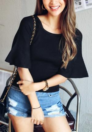Black Knit Short Bell Sleeve Top