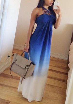 Blue Gradient Maxi Chiffon Dress from Lookbook Store