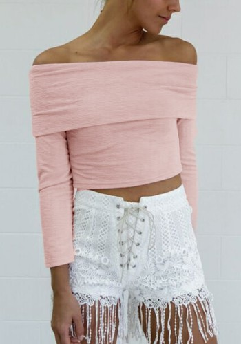 Pink Off Shoulder Crop Top from Lookbook Store