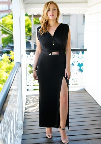 Plus Size Black Surplice Grecian-Style Long Dress from Lookbook Store