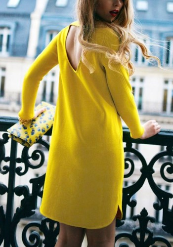 Yellow Cutout-Back Shift Dress from Lookbook Store