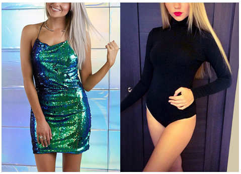 Blue Green Sequin Party Dress | Black Turtleneck Bodysuit from Lookbook Store