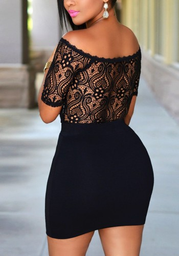 Black Off-Shoulder Lace Mini Dress
