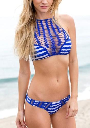 Inked Blue Halter Brazilian Bikini Set   Lookbook Store