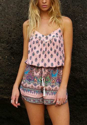 Pink Bohemian Printed Romper | Lookbook Store
