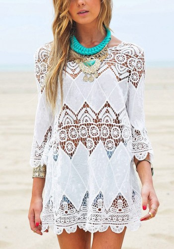 White Lace Crochet Cover-Up | Lookbook Store