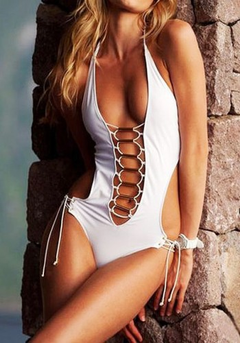 White Lace-Up Halter Monokini | Lookbook Store