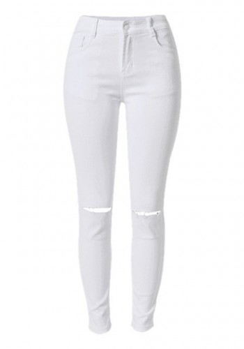 White Ripped Skinny Jeans from Lookbook Store