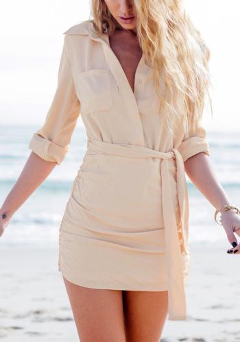 Beige Mini Shirt Dress