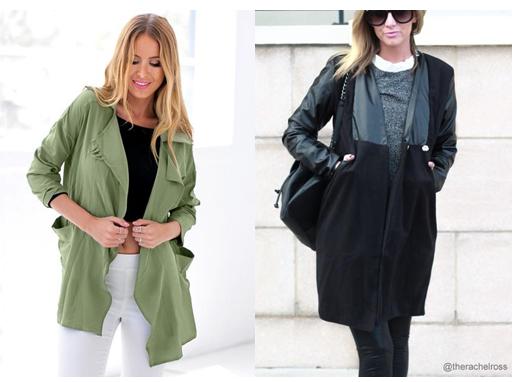 Moss Green Draped Cardigan and Black PU Leather-Sleeve Coat