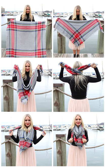 How To Tie a Square Blanket Scarf