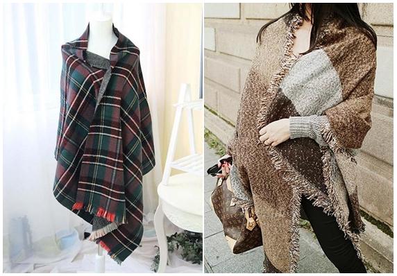 Green Plaid Blanket Scarf and Faux Woolen Tartan Shawl