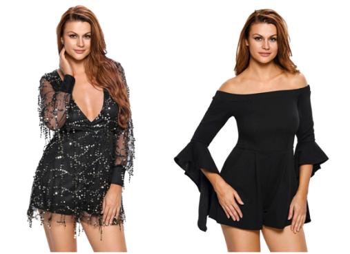Black Flowing Sequins Long Sleeves Romper   Black Off-Shoulder Frill Sleeves Romper in Lookbook Store