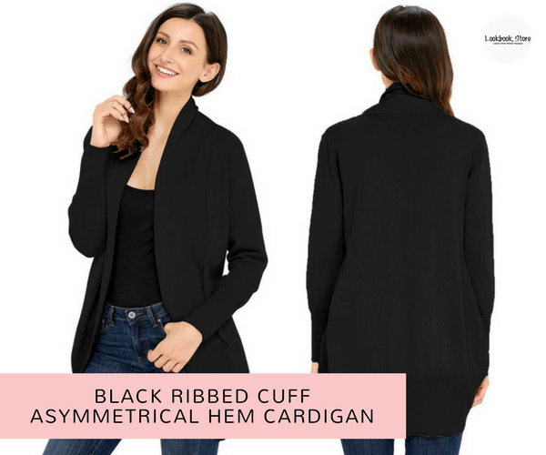 Black Ribbed Cuff Asymmetrical Hem Cardigan | Lookbook Store