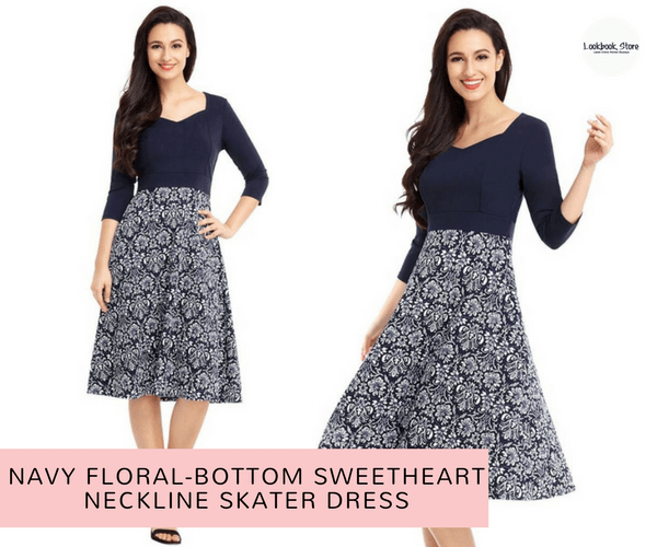 Navy Floral-Bottom Sweetheart Neckline Skater Dress | Lookbook Store
