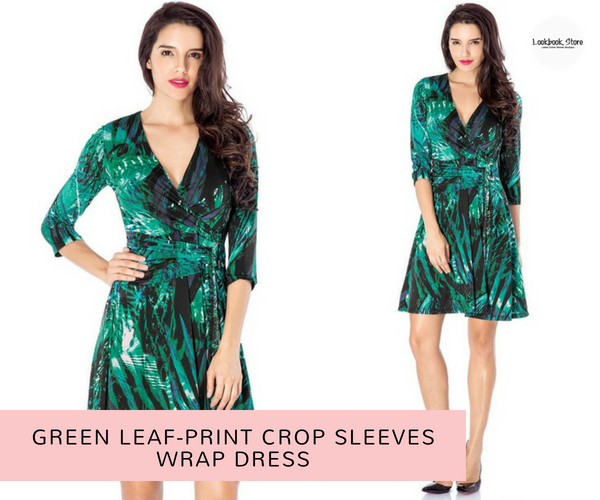 Green Leaf-Print Crop Sleeves Wrap Dress | Lookbook Store