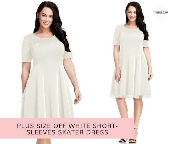 Plus Size Off White Short-Sleeves Skater Dress | Lookbook Store