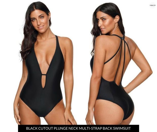 Lookbook Store | Black Cutout Plunge Neck Multi-Strap Back Swimsuit