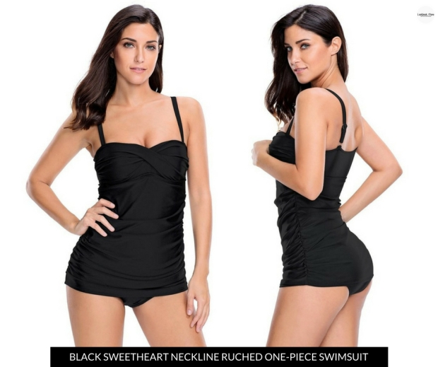 Lookbook Store Black Sweetheart-Neckline Ruched One-Piece Swimsuit