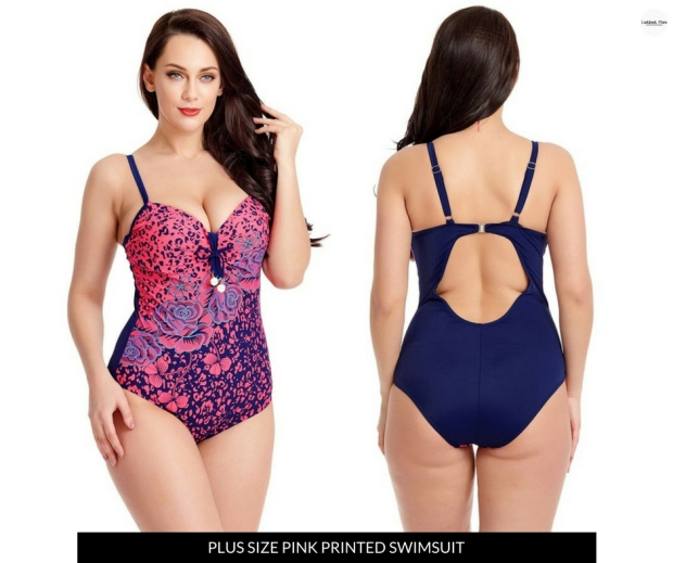 Lookbook Store Plus Size Pink Printed Swimsuit