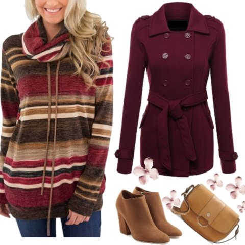 Burgundy Striped Colorblock Cowl Neck Drawstring Pullover Top