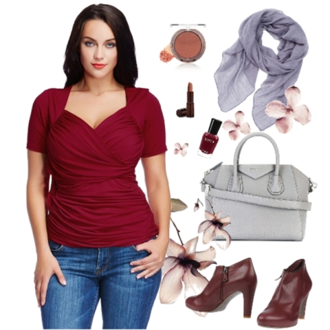Plus Size Burgundy Ruched Surplice Top