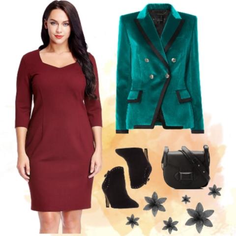 Plus Size Burgundy Decollete Neckline Pencil Dress