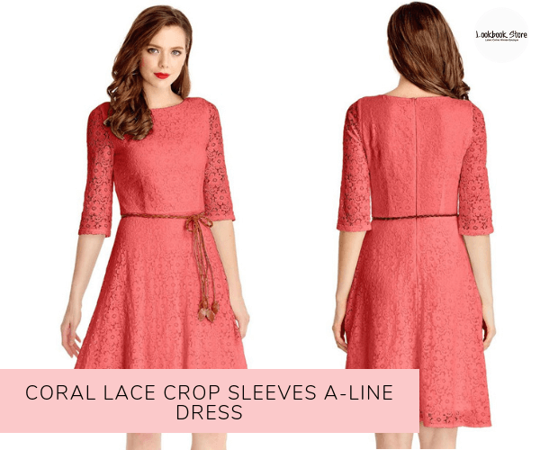 Coral Lace Crop Sleeves A-Line Dress - Lookbook Store