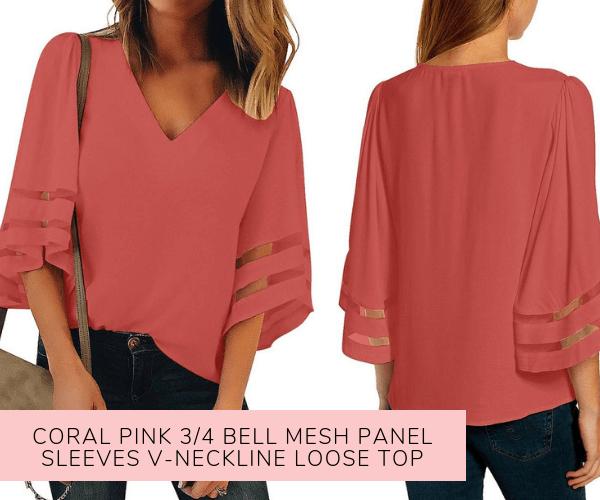 Coral Pink 3/4 Bell Mesh Panel Sleeves V-Neckline Loose Top - Lookbook Store